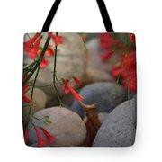 Scarlet Bugler Blossoms On Rocks Tote Bag