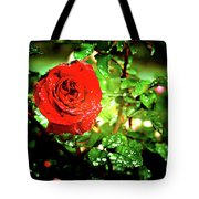 Scarlet Raindrops Tote Bag