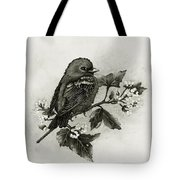 Scarlet Tanager - Black And White Tote Bag