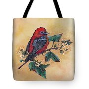 Scarlet Tanager - Acrylic Painting Tote Bag
