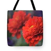 Scarlet Zinnias Tote Bag
