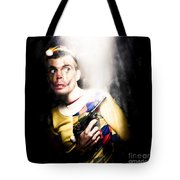 Scary Clown Standing In Shadows With Smoking Gun Tote Bag