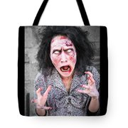 Scary Screaming Zombie Woman Tote Bag