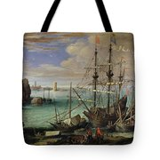 Scene Of A Sea Port Tote Bag