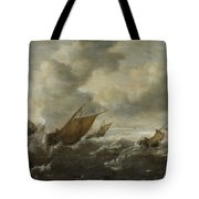 Scene With Stormy Seas Tote Bag