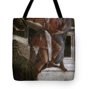 Scenes From The Life Of Moses Detail Alessandro Botticelli Tote Bag