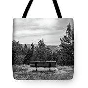 Scenic Bench In Black And White Tote Bag