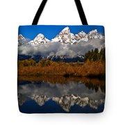 Scenic Teton Fall Reflections Tote Bag