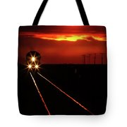 Scenic View Of An Approaching Trrain Near Sunset Tote Bag