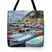 Scenic View Of Castle Hill And Marina In Nice, France Tote Bag