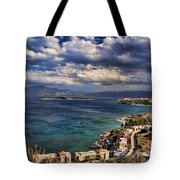 Scenic View Of Eastern Crete Tote Bag by David Smith