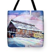 School Bus And Barn Tote Bag