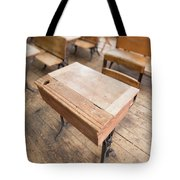 School Desks In A One Room School Building Tote Bag