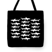School Of Sharks Black And White Tote Bag