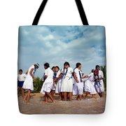 School Trip To Beach II Tote Bag by Rafa Rivas
