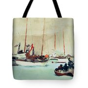 Schooners At Anchor In Key West Tote Bag by Winslow Homer