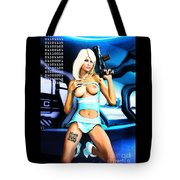 Sci-fi Topless Blonde With Gun On Spaceship Tote Bag