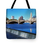 Scioto River With Waterfall Tote Bag