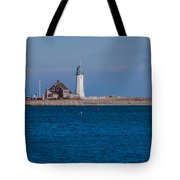 Scituate Lighthouse From Across The Harbor Tote Bag