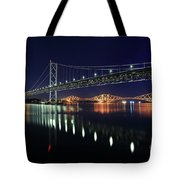 Scottish Steel In Silver And Gold Lights Across The Firth Of Forth At Night Tote Bag by Maria Gaellman