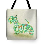 Scottish Terrier Dog Watercolor Painting / Typographic Art Tote Bag