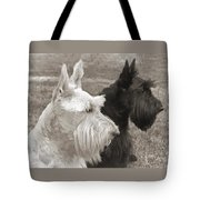Scottish Terrier Dogs In Sepia Tote Bag