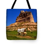 Scotts Bluff Wagon Train Panorama Tote Bag