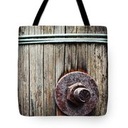 Screw Attached To A Wooden Beam Tote Bag