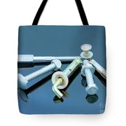 Screwbolts Screw Nuts, Hanger And Bolt Washers On Blue Background Construction Concept. Tote Bag