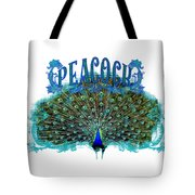 Scroll Swirl Art Deco Nouveau Peacock W Tail Feathers Spread Tote Bag