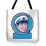 Sea Captain Smoking Pipe Circle Retro Tote Bag