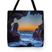 Sea Cave Sunset Tote Bag