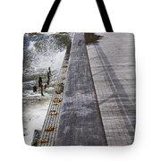 Sea Cliff Seawall Boardwalk Tote Bag