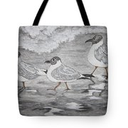 Sea Gulls Dodging The Ocean Waves Tote Bag