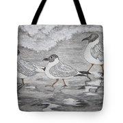 Sea Gulls Dodging The Ocean Waves Tote Bag