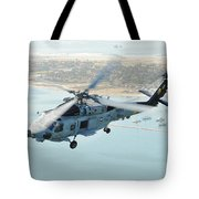 Sea Hawk Helicopter Flies Over  San Diego Tote Bag