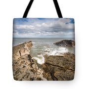 Sea Meets Rocks At Howick Tote Bag