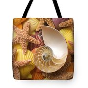 Sea Shells And Starfish Tote Bag by Garry Gay