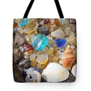Sea Shells Art Prints Blue Seaglass Sea Glass Coastal Tote Bag