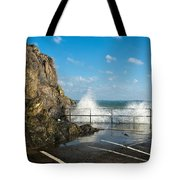 Sea Spray At Mevagissey Harbour Tote Bag