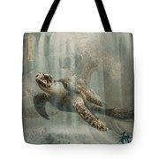 Sea Turtle Great Wave Tote Bag