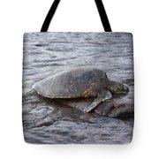 Sea Turtle On Rock Tote Bag