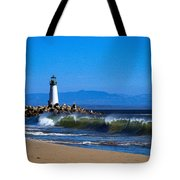 Seabright Beach Lighthouse With Surf Tote Bag