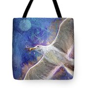 Seagull Against Blue Abstract Tote Bag