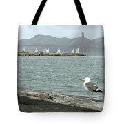 Seagull And Golden Gate Bridge Tote Bag