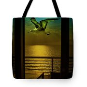 Seagull And Sunset Clouds Tote Bag by Fernando Cruz