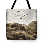 Seagull Flying Into Ocean Jetty Tote Bag