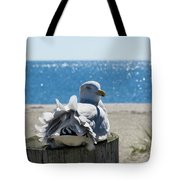 Seagull In Wind Tote Bag
