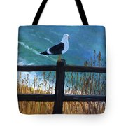 Seagull On The Fence Tote Bag