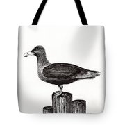 Seagull Portrait On Pier Piling E3 Tote Bag
